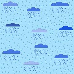 Rain and cloud seamless pattern