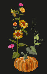 Vertical border of autumn symbols: yellow sunflower, orange pumpkin, gerbera daisy flower. Embroidery (imitation satin stitches style) on black background, digital draw, frame for design, vector