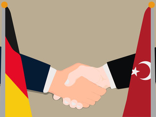 Deal Cooperation partnership Germany and Turkey with the businessman handshake symbol vector illustration in a business environment