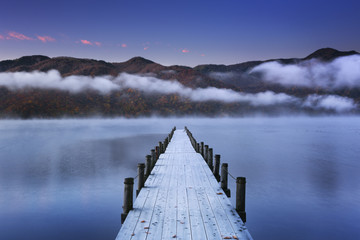 Jetty in Lake Chuzenji, Japan at dawn