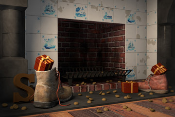Shoes by the fireplace for the Dutch holiday Sinterklaas