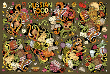 Vector cartoon set of Russian food doodles designs