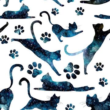 Seamless Pattern of Watercolor Starry Sky and Cats