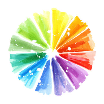 Art color wheel brush stroke hand drawn design element