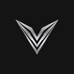 letter v logo. luxury metal logo design concept template