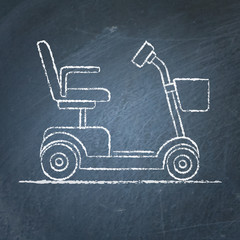 Mobility scooter sketch on chalkboard