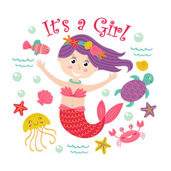 card with mermaid girl and marine animals -  vector illustration, eps