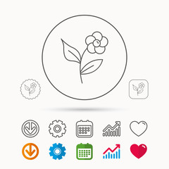 Flower with petals icon. Plant with leaves sign. Floral decoration symbol. Calendar, Graph chart and Cogwheel signs. Download and Heart love linear web icons. Vector