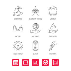 Save nature, planet and water icons. Minerals, lightning and solar energy linear signs. Battery, factory and electricity station icons. Report document, Graph chart and Calendar signs. Vector