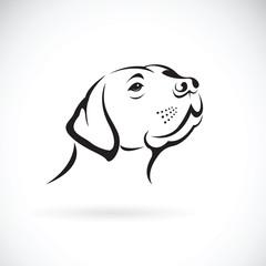 Vector of a dog head(Labrador Retriever) on white background, Pet. Animals.