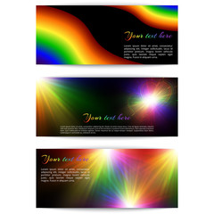 A set of horizontal banners with bright rainbow colors and light effects on a black backdrop. Vector illustration.