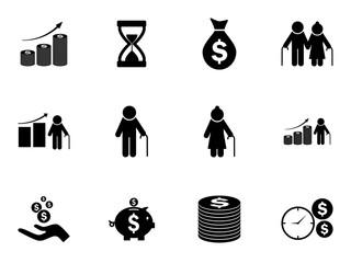 Set of pension funds icons. Vector pictograms