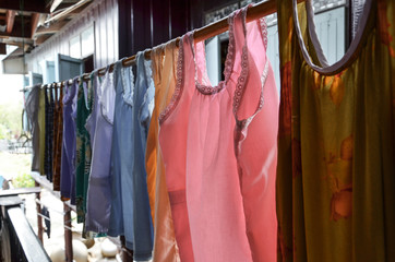 Colorful Thai Traditional Clothes Hanging