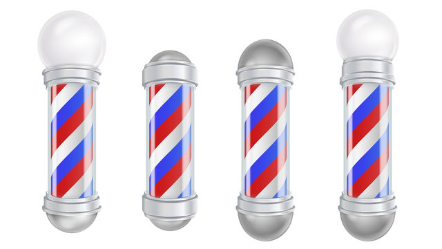 Barber Shop Pole Vector. 3D Classic Barber Shop Pole Set. Good For Design, Branding, Advertising. Isolated