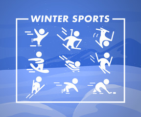 Vector colleciton of winter sport icons and pictograms