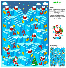 Christmas or New Year themed 3-dimensional maze game with stairs, ladders and Santa delivering presents through the chimneys. Answer included.