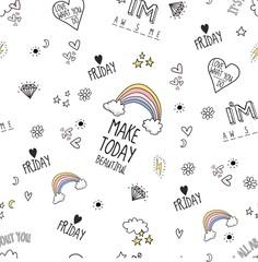 hand drawn heart rainbow star seamless pattern