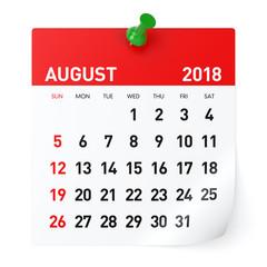 August 2018 - Calendar