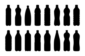 Set of silhouettes of water bottles, vector illustration