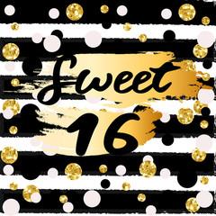 Cute festive bright sweet sixteen card with golden glitter