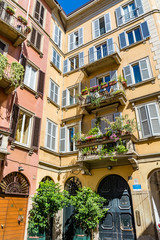 Charming townhouses in Brera district, Milan, Italy