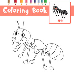 Coloring page of Black Ants animals for preschool kids activity educational worksheet. Vector Illustration.