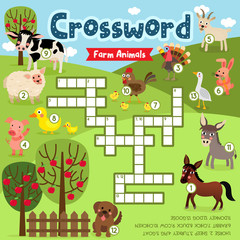 Crosswords puzzle game of farm animals for preschool kids activity worksheet colorful printable version. Vector Illustration.