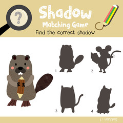 Shadow matching game of Standing Beaver holding a log animals for preschool kids activity worksheet colorful version. Vector Illustration.
