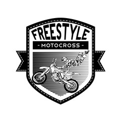black and white motocross rider badge logo design vector illustration
