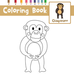Coloring page of Chimpanzee animals for preschool kids activity educational worksheet. Vector Illustration.