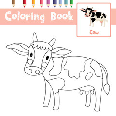 Coloring page of Cow animals for preschool kids activity educational worksheet. Vector Illustration.