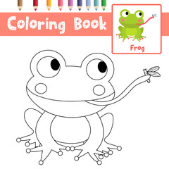 Coloring page of Frog eating fly animals for preschool kids activity educational worksheet. Vector Illustration