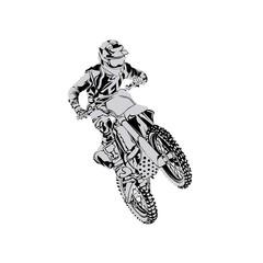 black and white motocross rider badge logo design vector illustration