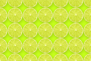 lime slices on green