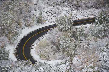 High angle view of man biking on road in Big Mountain