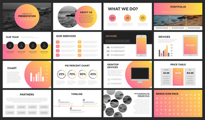 Modern Orange and Yellow Gradient Presentation Template. You can use it presentation, flyer and leaflet, corporate report, marketing, pitch, annual report, catalog.