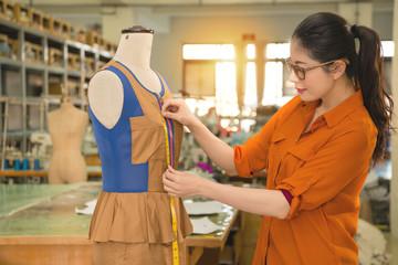 professional female designer using the tape tool