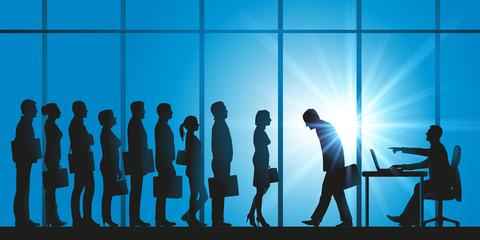 emploi - file d'attente - candidat, échec - embauche - sélection - concurrence - senior