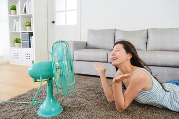 beautiful young woman enjoying cool wind