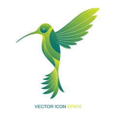 Silhouette of a hummingbird. Logo. Vector. A flat icon. Vector illustration. A kind of bird with a side.