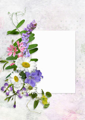 Greeting card with space for text and flowers