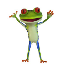 3d illustration of a green cartoon frog waving with both hands.