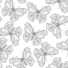 Butterflies. Seamless pattern, background. Outline hand drawing coloring page for adult coloring book. Stock line vector illustration.
