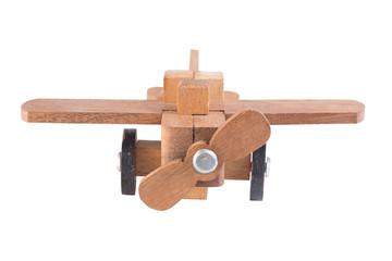 Wooden plane on white background.