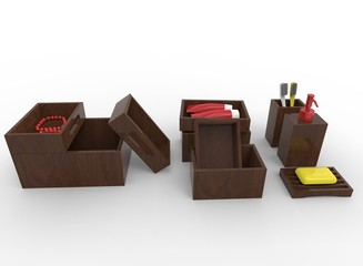 3d illustration of boxes with cosmetics. white background isolated. icon for game web.