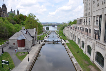 Wall Murals Channel Rideau Canal in downtown Ottawa, Ontario, Canada. Rideau Canal was registered as a UNESCO World Heritage Site for the reason of the oldest continuously operated canal system in North American.