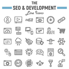 SEO and development line icon set, business symbols collection, marketing vector sketches, logo illustrations, business signs linear pictograms package isolated on white background, eps 10.