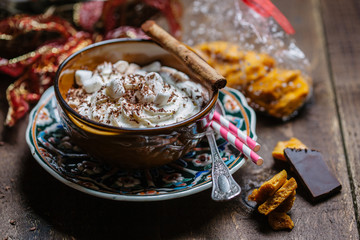 Festive hot chocolate and candy.