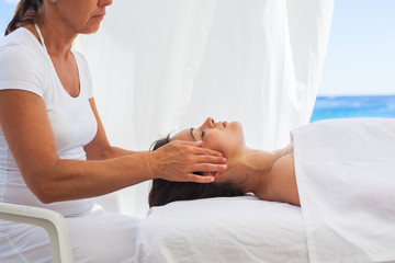 Acupressure treatment at the spa resort by the sea