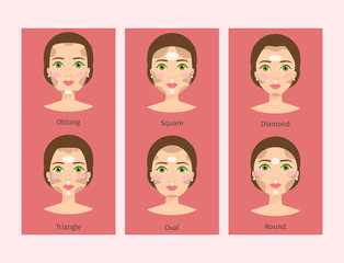 Different woman face types vector illustration cosmetic face shapes cards character girl makeup beautiful banners.